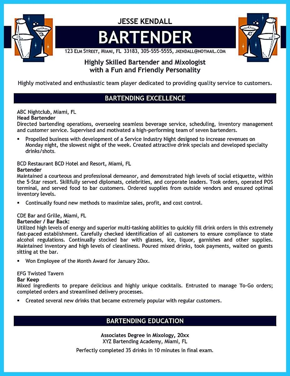 Resume For Bartender Nice Impressive Bartender Resume Sample That Brings You To A