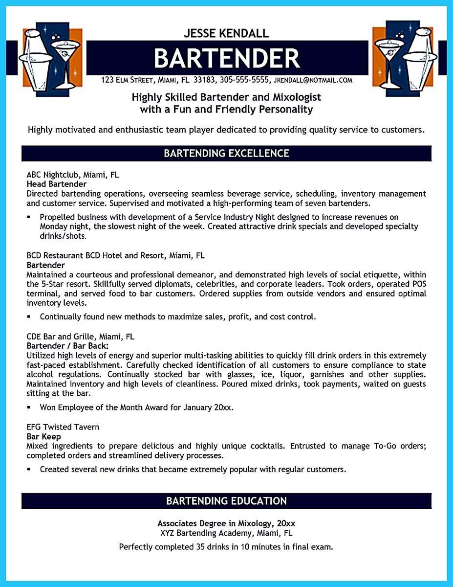 Resume For Bartender Nice Impressive Bartender Resume Sample That Brings You To A