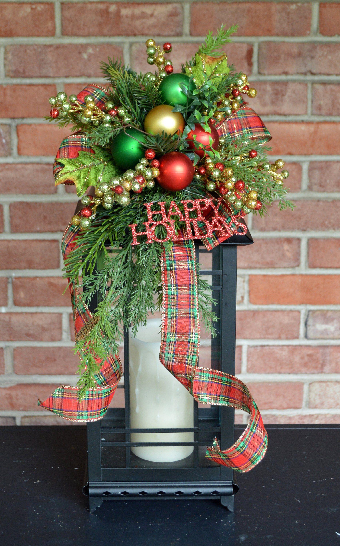 Christmas Lantern Swag Happy Holidays Swag Lantern Centerpiece