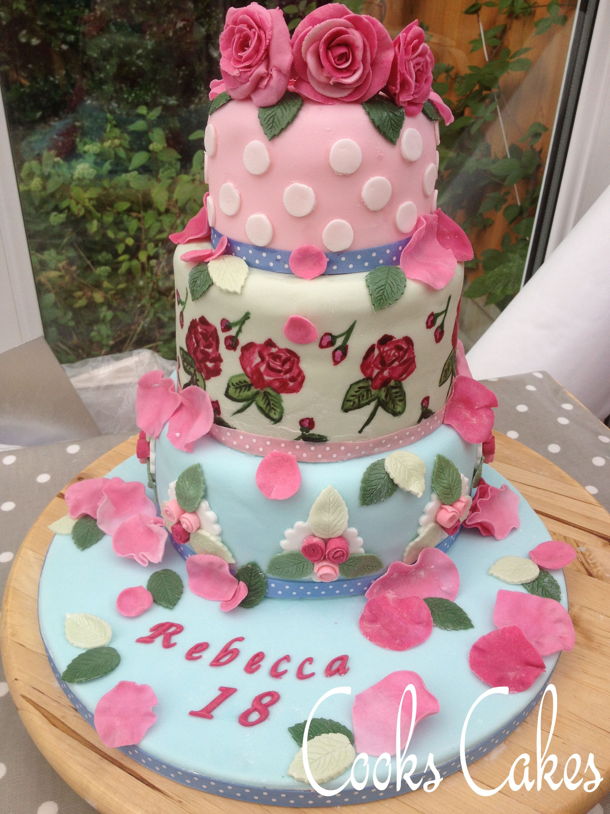 My daughter 39 s 18th birthday cake cath kidston inspired for 18th cake decoration