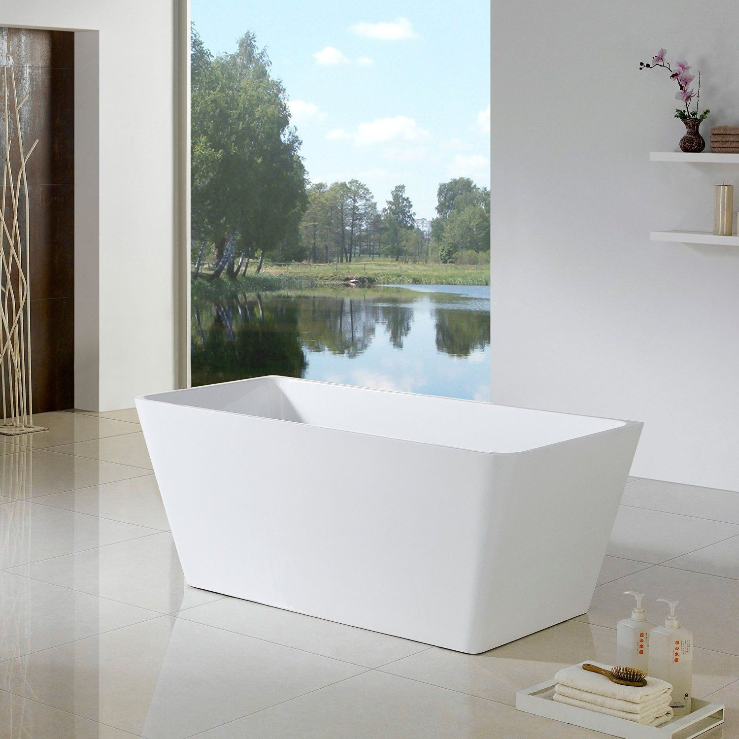 "Maykke XDA1436001 66"" Burbank Modern Rectangle Acrylic Freestanding Bathtub…"