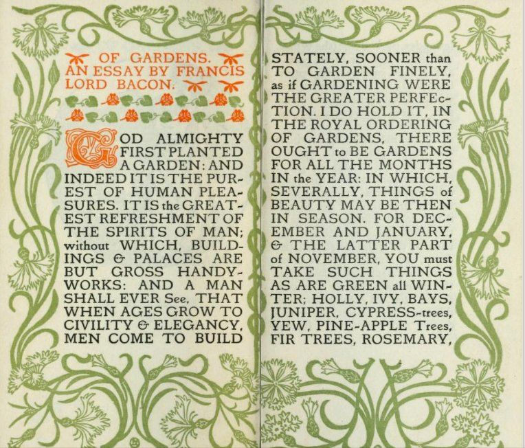 art nouveau edition of an essay on gardens by francis bacon b  art nouveau edition of an essay on gardens by francis bacon b 1561