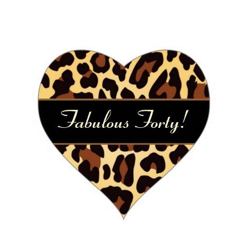 Gold Black Leopard Fabulous 40 Birthday Heart Sticker Zazzle Com