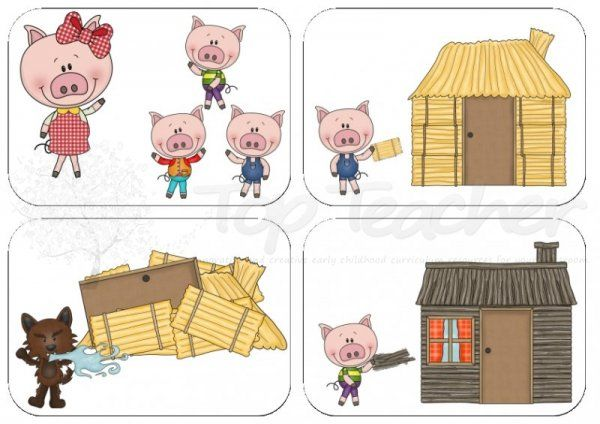 here are 9 picture cards to sequence the events from 39 the three little pigs 39 4 pictures to a page. Black Bedroom Furniture Sets. Home Design Ideas