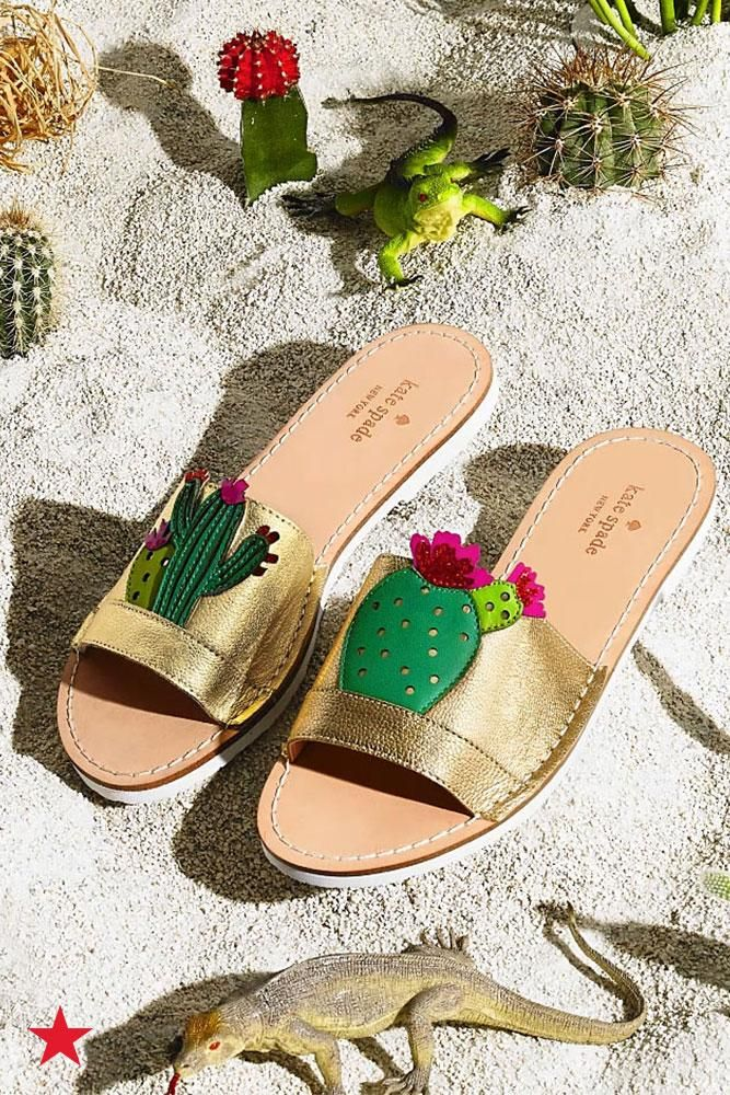 f899f9ee35db Keep your feet cool from hot sand this summer in these cacti-adorned kate  spade new york slides. Visit macys.com for these and more novelty sandals  you ll ...