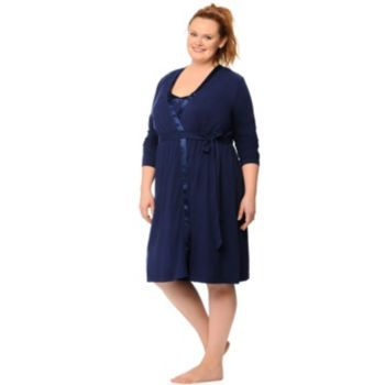 3627830dd689c Plus Size Maternity Oh Baby by Motherhood™ Nursing Gown & Robe Set ...