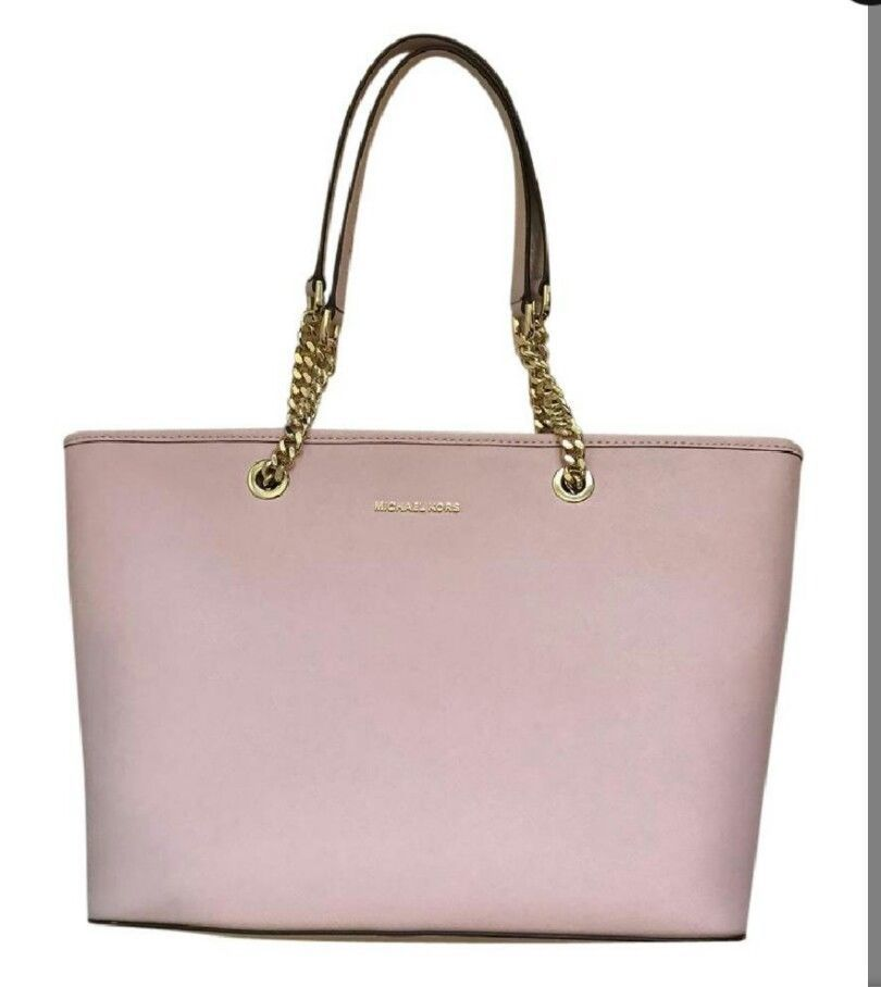 2630bacc5aaf Michael Kors Blush Leather Jet Set Travel Top Zip Tote