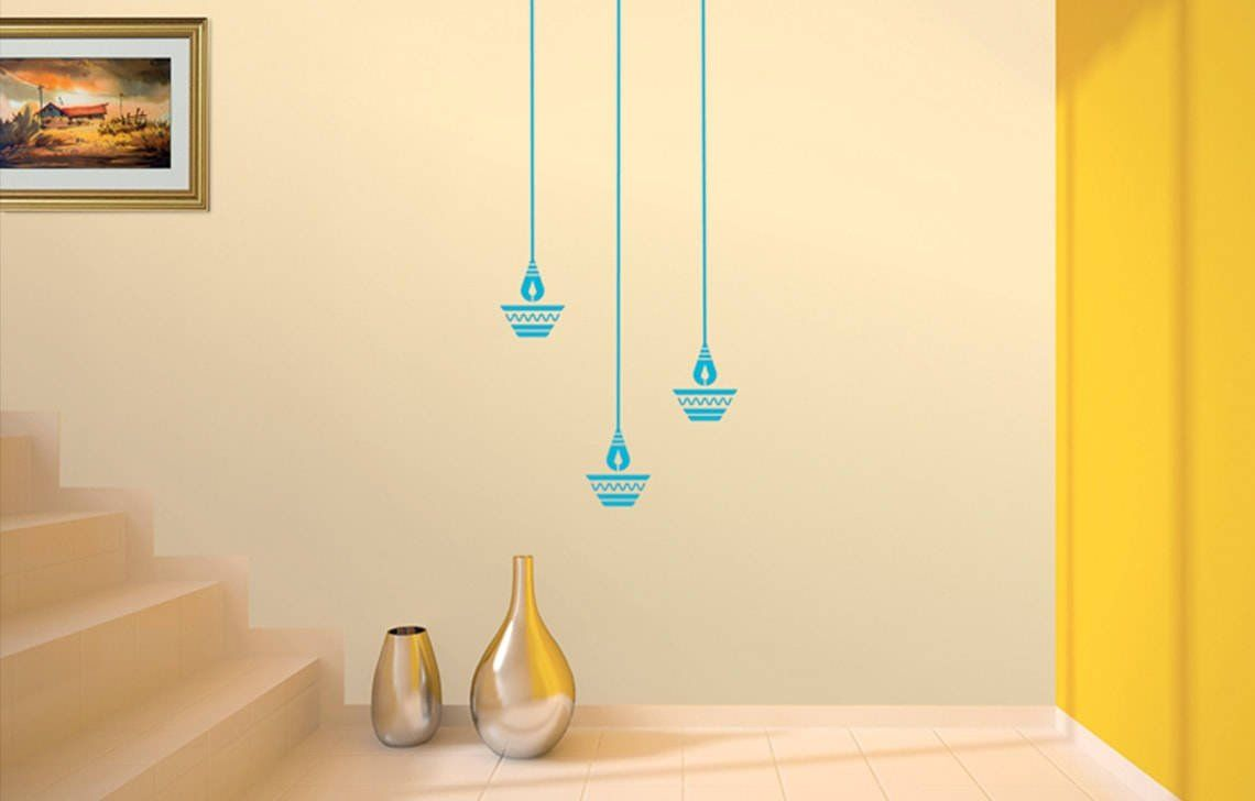 Buy Asian Paints Royale Play Wall Fashion Diya Stencil Wall Sticker For Home And Office Wall Decor Online At Wall Paint Designs Stencils Wall Office Wall Decor