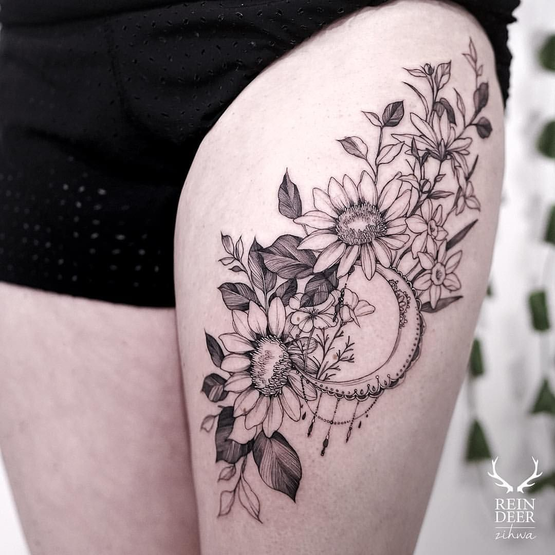 Flower Thigh Tattoos: Pin By Abigail Szulc-Neild On Tattoos