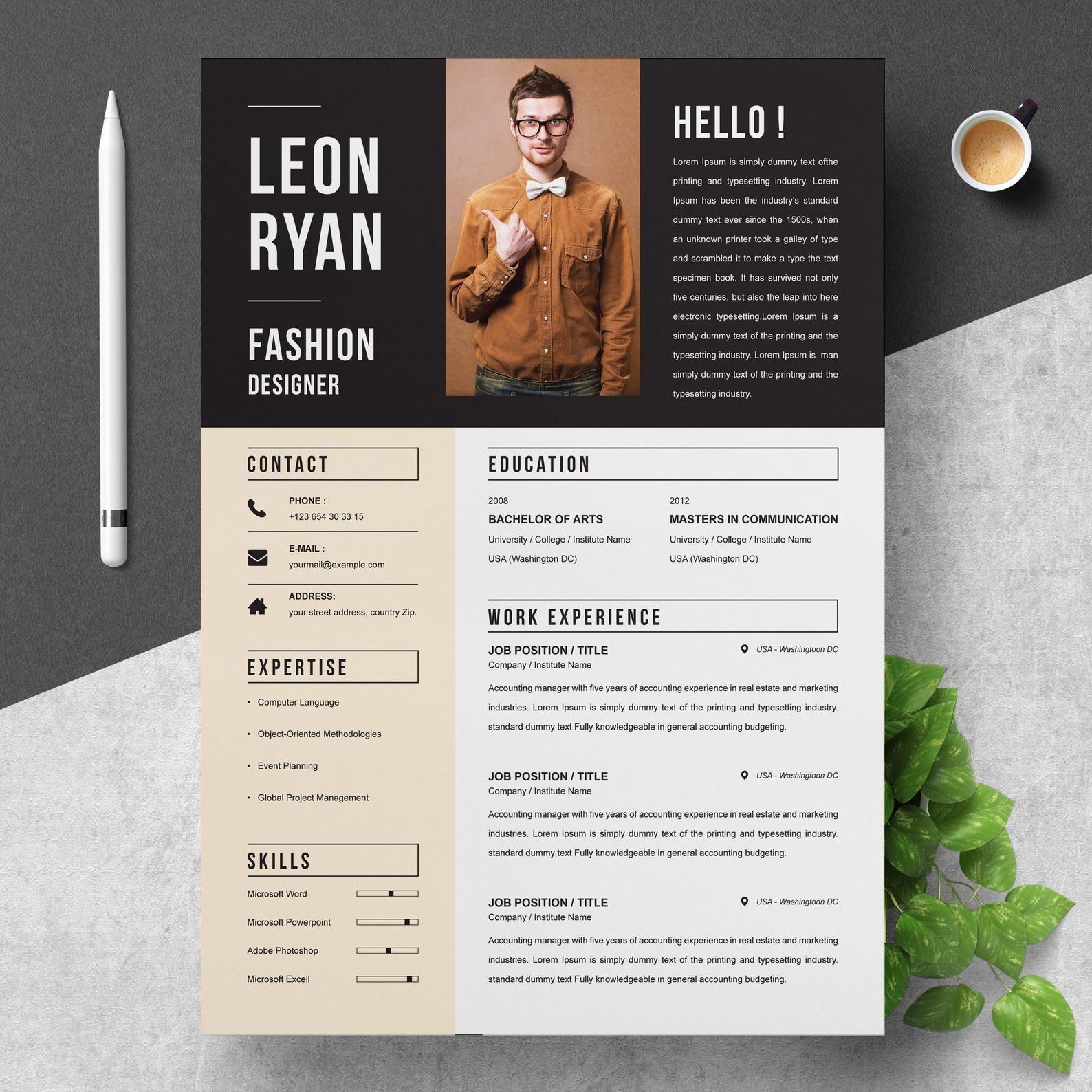 Bold Resume Template for Fashion Designer Instant Download