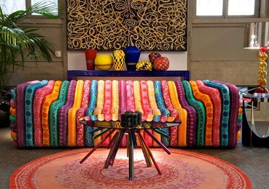 African inspired room with the Versace bubble chair image source