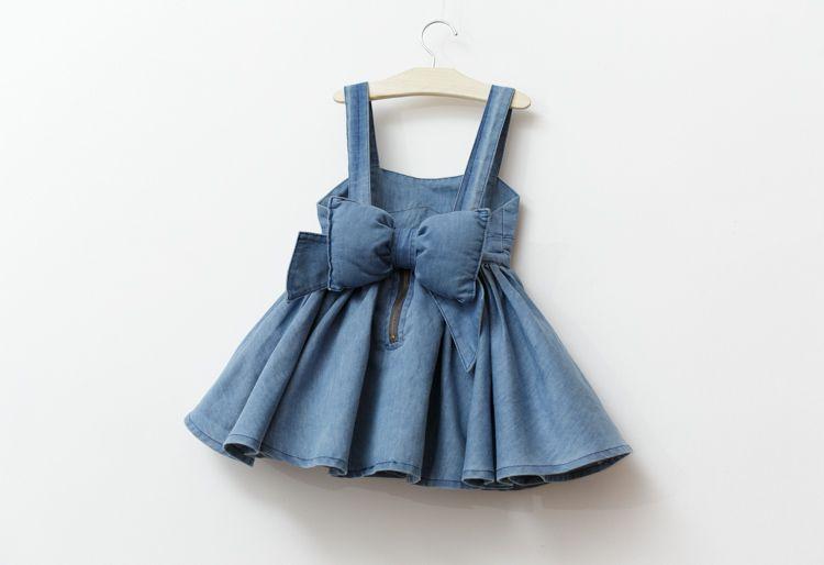 60c7b93ea7409 BABY GIRL BIG BOW DENIM STRAP DRESS - ชุดเอี๋ยมเดรสกระโปรงยีนส์ หลัง ...