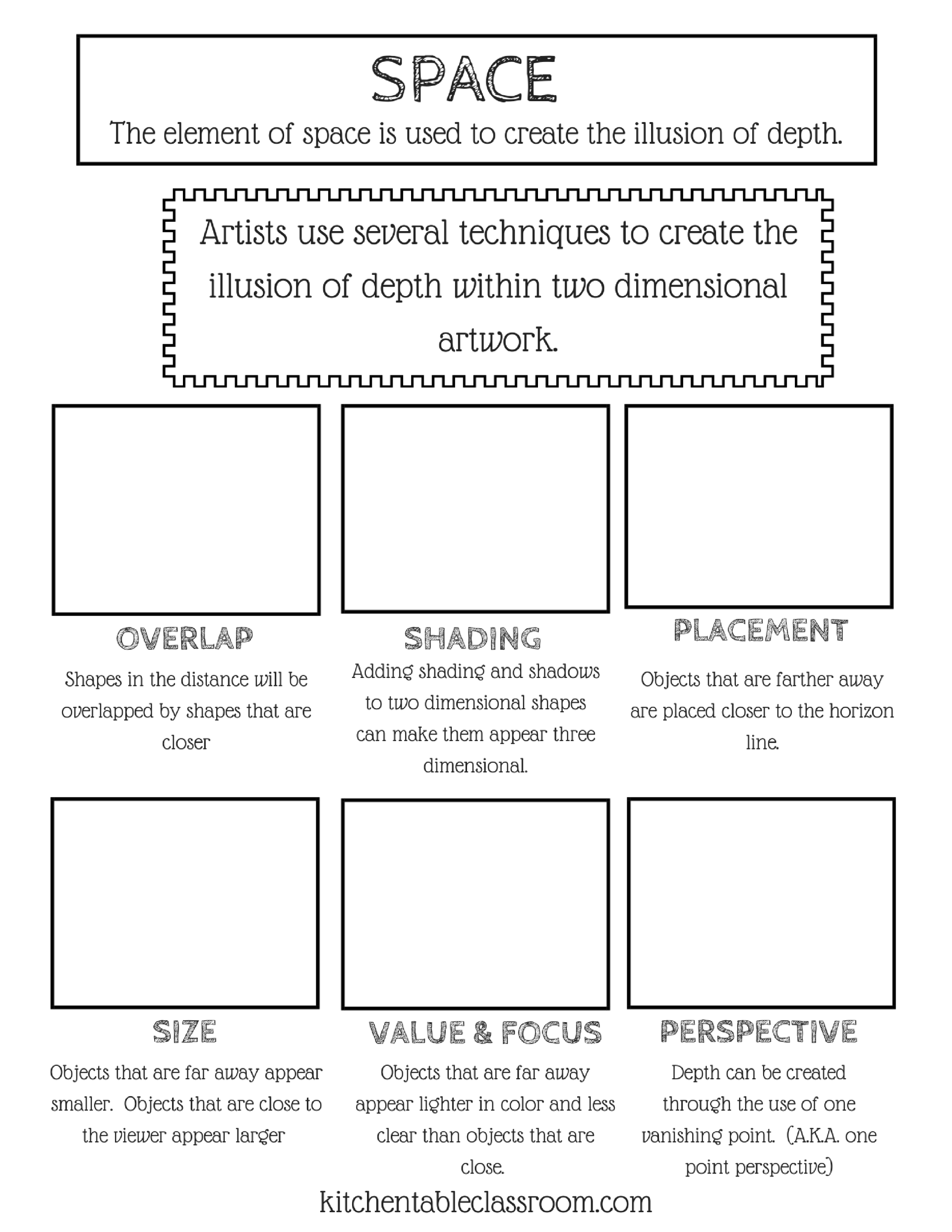 Introduction To The Element Of Space With Free Printable