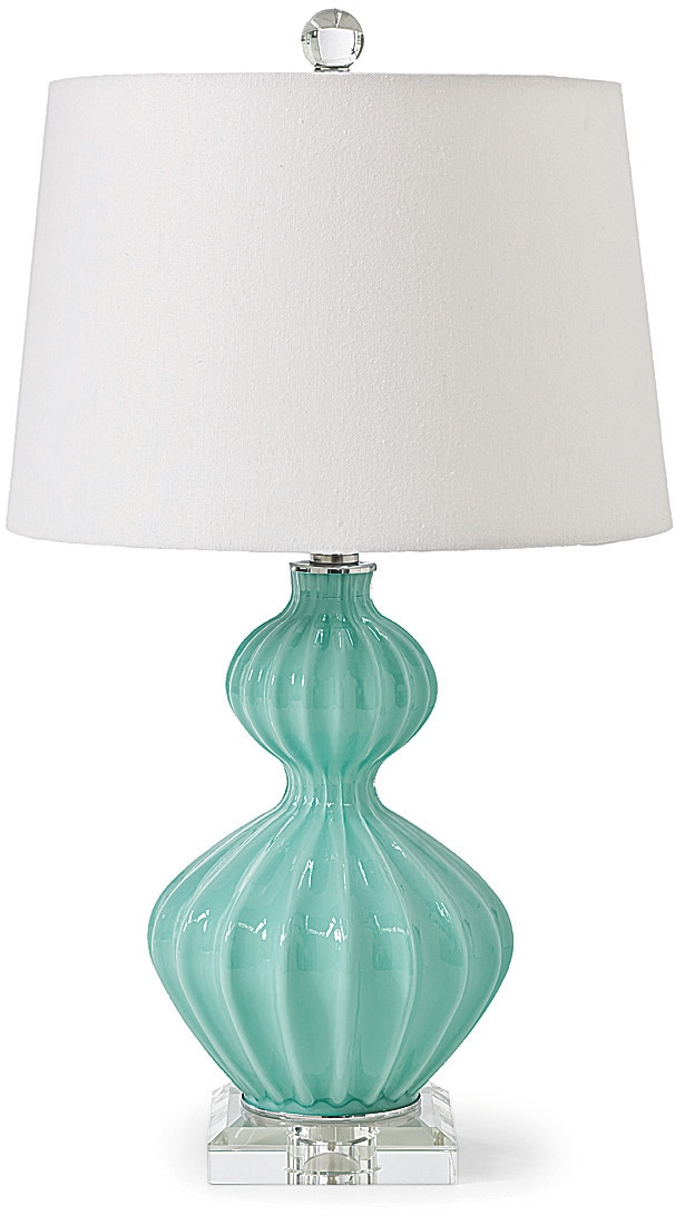 25 inch high Aqua Glass lamp with a ripple effect, not