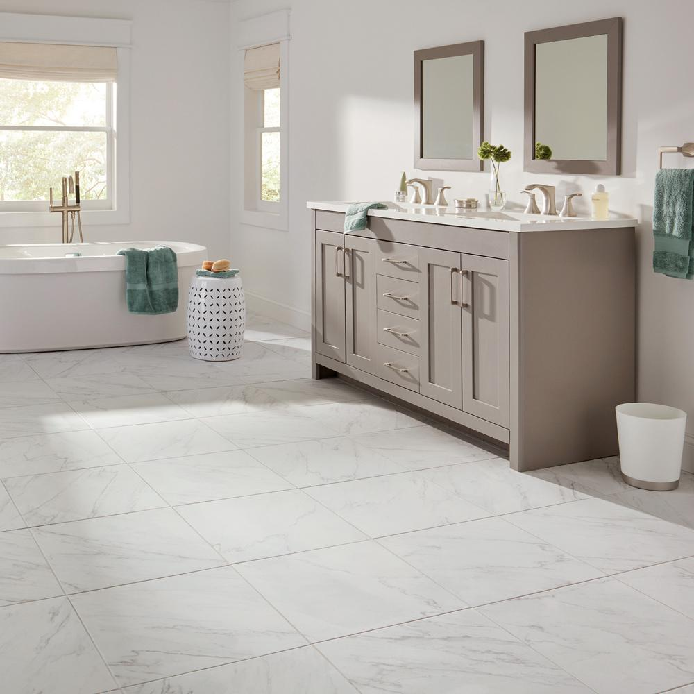 Lifeproof Carrara 18 In X 18 In Glazed Porcelain Floor And Wall Tile 17 6 Sq Ft Case Lp501818hd1p6 In 2020 Porcelain Flooring Wall Tiles Floor And Wall Tile