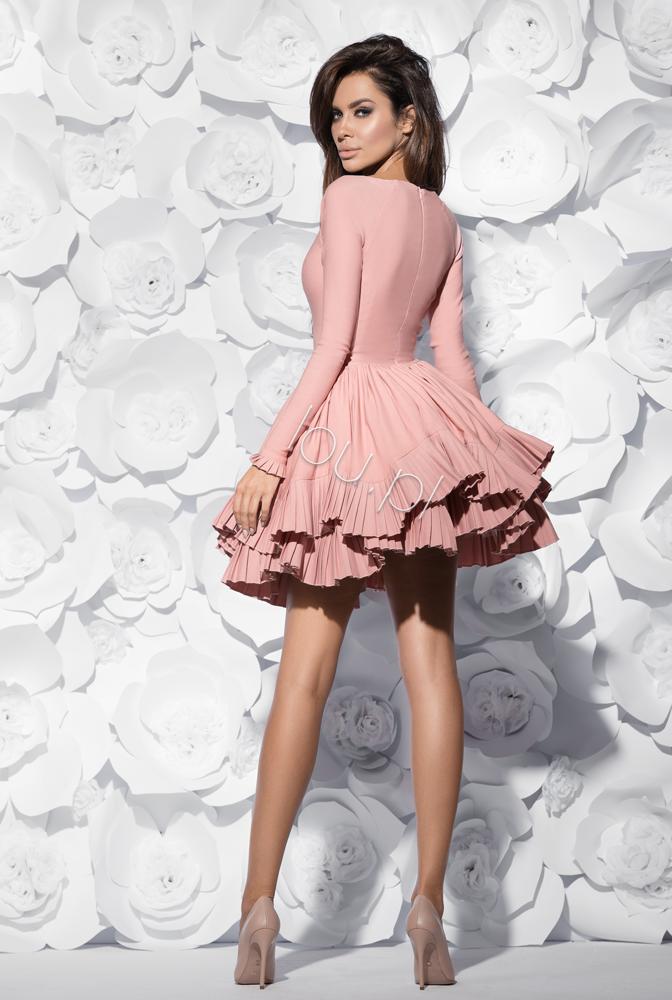 563e5ef583 NANCY - SUKIENKA ROZKLOSZOWANA BRUDNY RÓŻ Formalne Sukienki