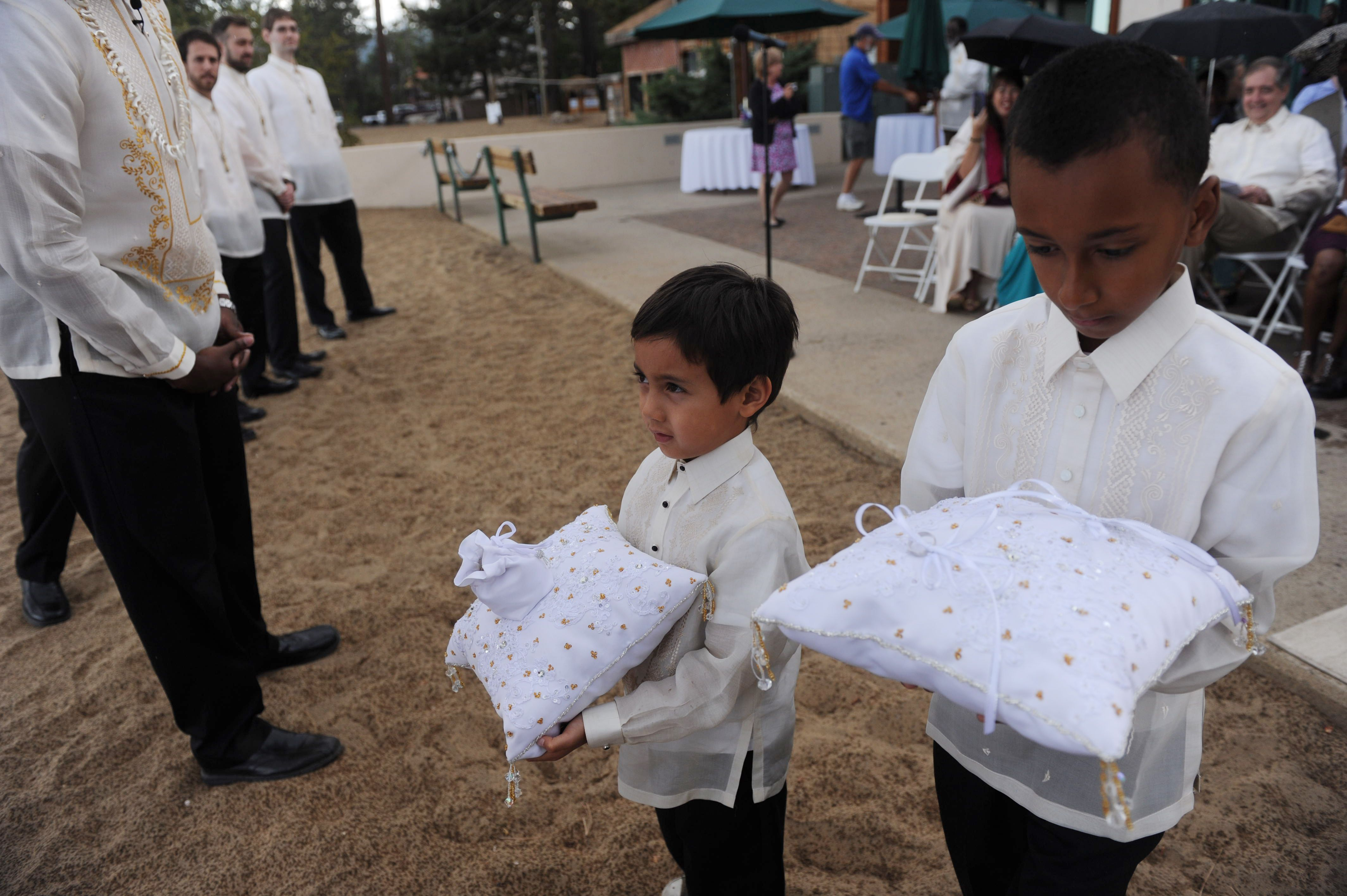 Our ring and coin bearers in Filipino formal wear barongs