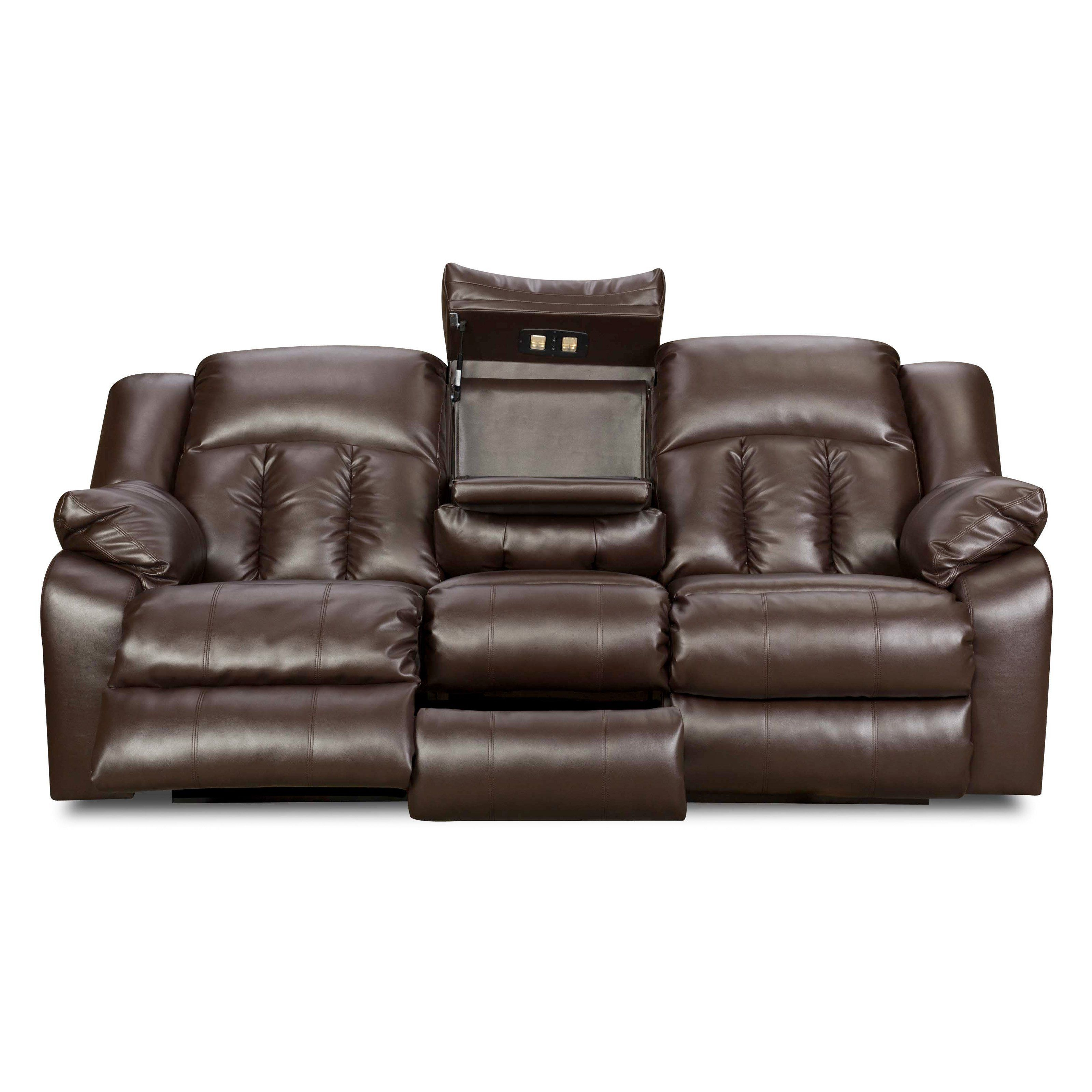 Simmons Upholstery Sebring Bonded Leather Double Motion Sofa 50325 68 Coffeebean