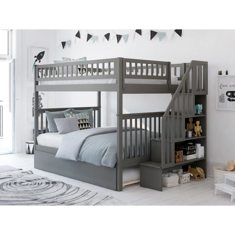 Viv Rae Shyann Staircase Full Over Full Bunk Bed With Trundle Reviews Wayfair Bunk Bed With Trundle Full Bunk Beds Bunk Beds Full over full with trundle