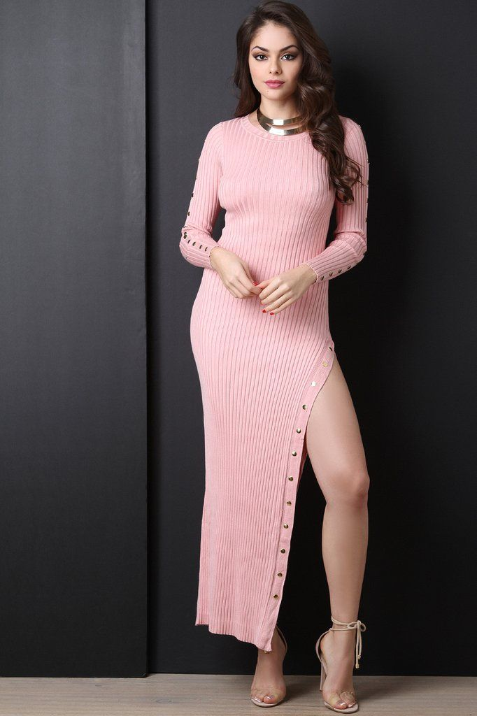 88bf831c0c6 Button Up Side Slit Ribbed Knit Sweater Dress