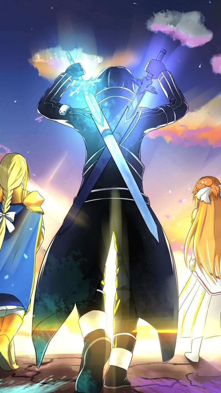 Wallpaper Phone Kirito, Asuna And Alice Full HD Dessin
