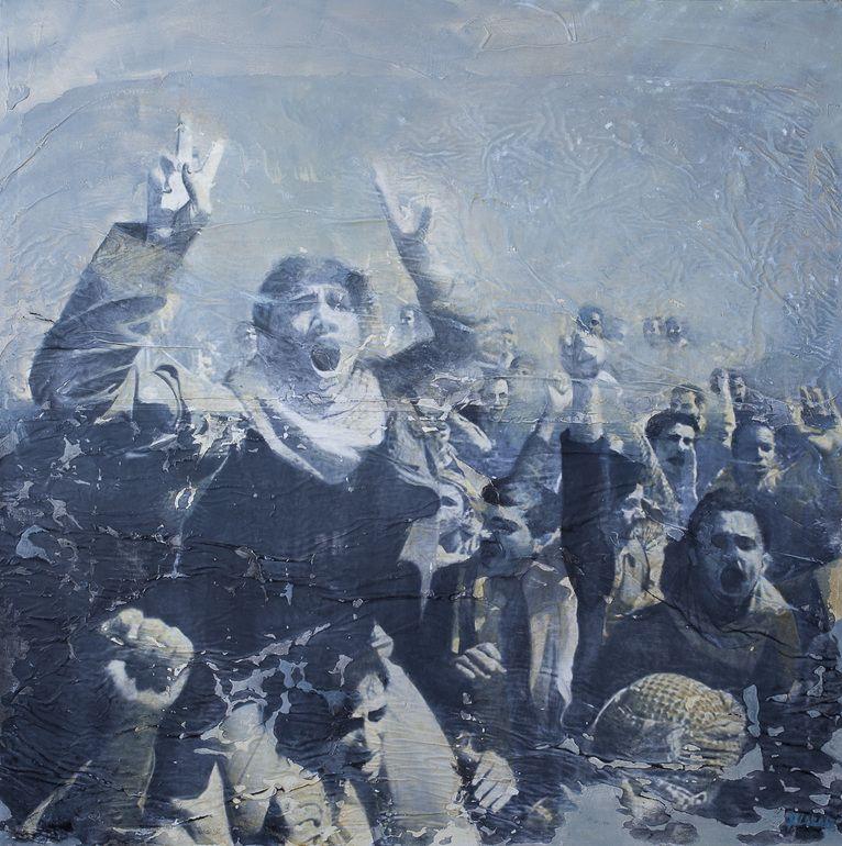 """Raúl Lara; Acrylic 2013 Painting """"Protesta1"""""""