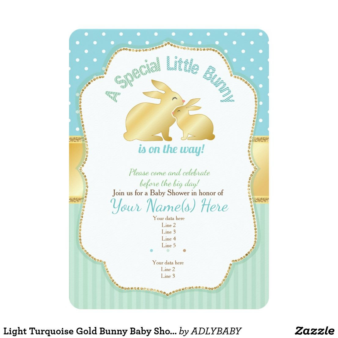 Light Turquoise Gold Bunny Baby Shower Invitation Baby Shower Light  Turquoise Gold Bunny Baby Shower Invitation