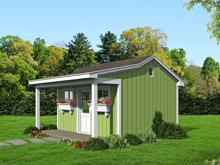 062b 0003 Workshop Plan With Covered Porch Size 16 X16 Shed With Porch Country Style House Plans Building A Shed