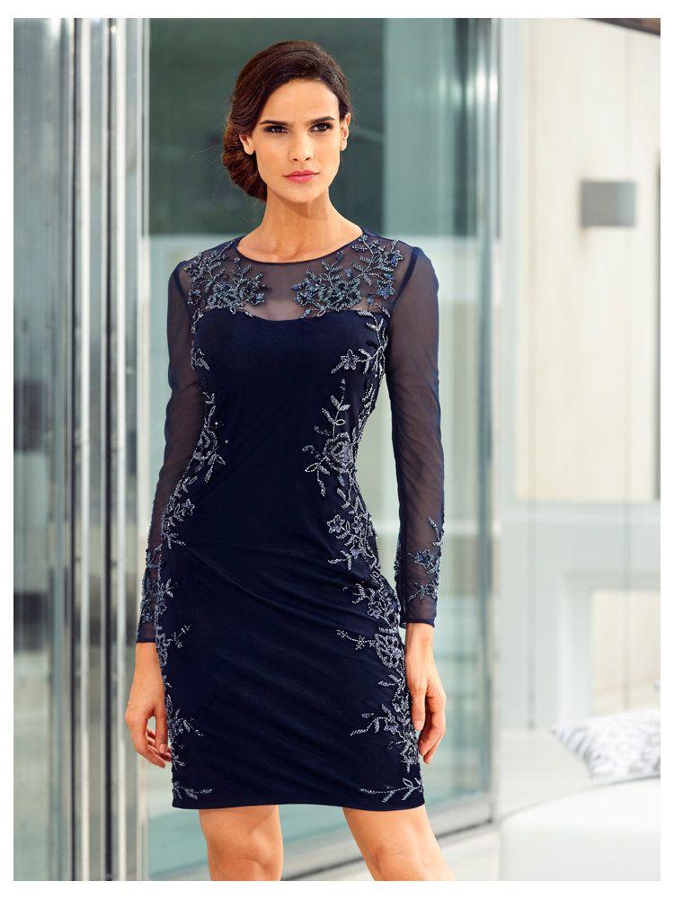 robe de soir e courte paillet e bleu marine empi cement en tulle chic robes de soir e. Black Bedroom Furniture Sets. Home Design Ideas