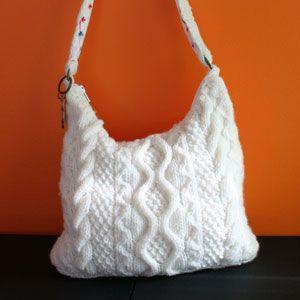 Free Knitting Pattern Simple Bag : Free knitting pattern - Cable Bag Bags Knitting ...