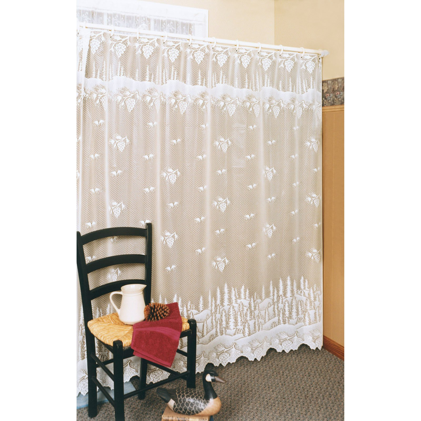 2 Colors Heritage Lace PINECONE Shower Curtain Select Ecru or White
