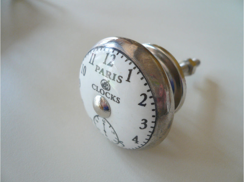 Superior Each Silver Coloured Knob Features A Pretty French Antique Style Ceramic  Clock Face With