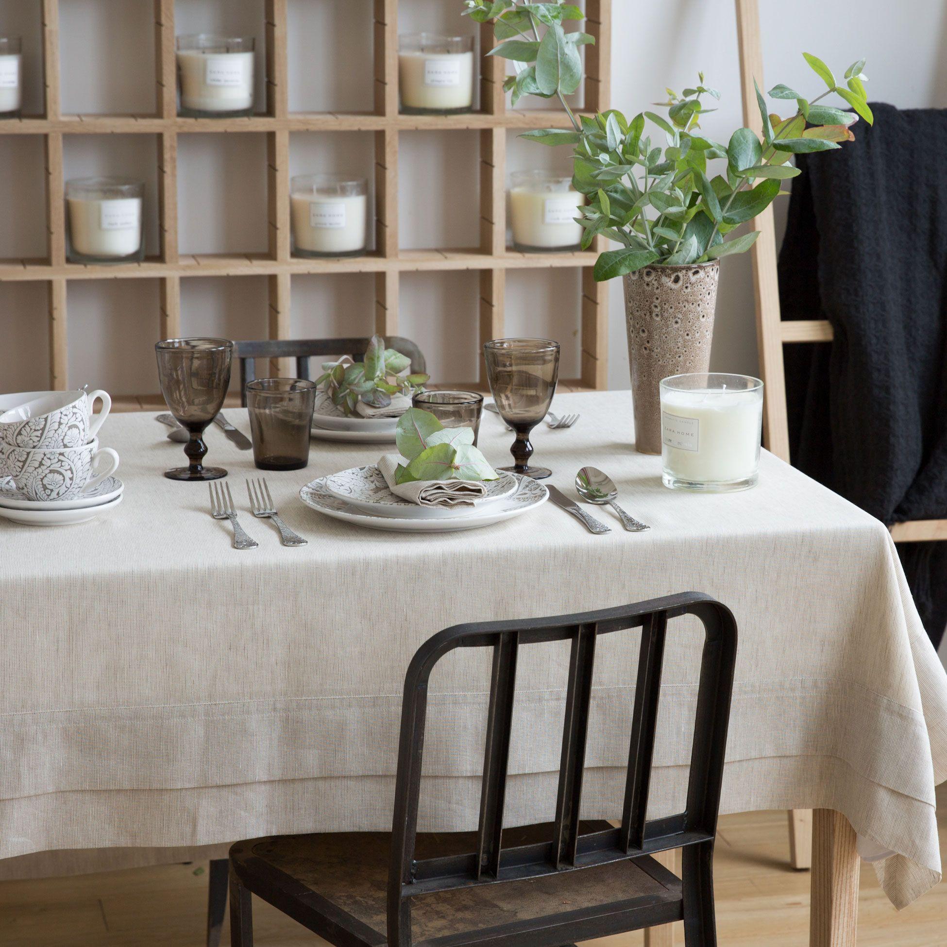 Mantel y servilleta lino color marrón - Manteles - Mesa | Zara Home ...