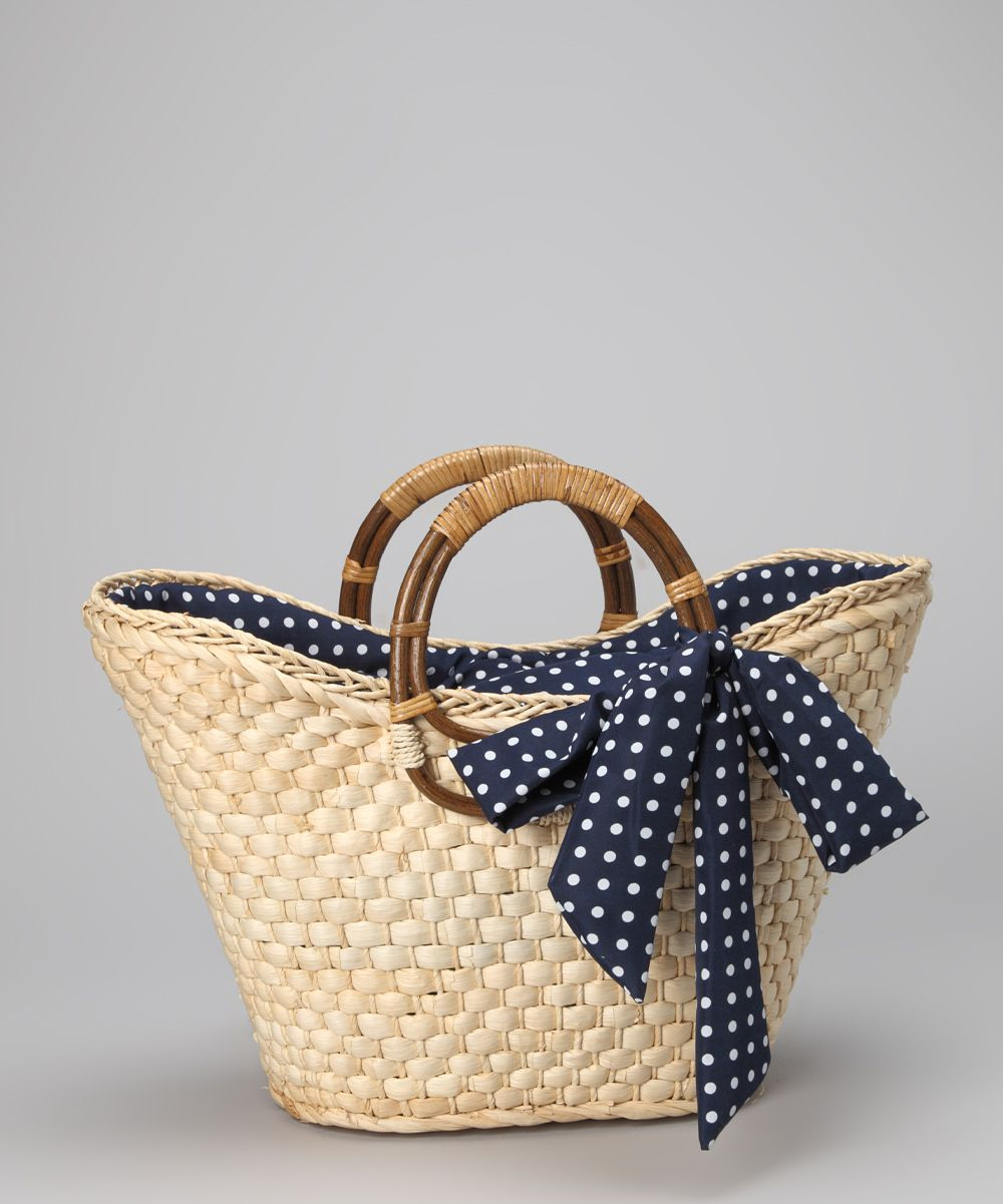 straw studios navy polka dot straw tote casual beach. Black Bedroom Furniture Sets. Home Design Ideas