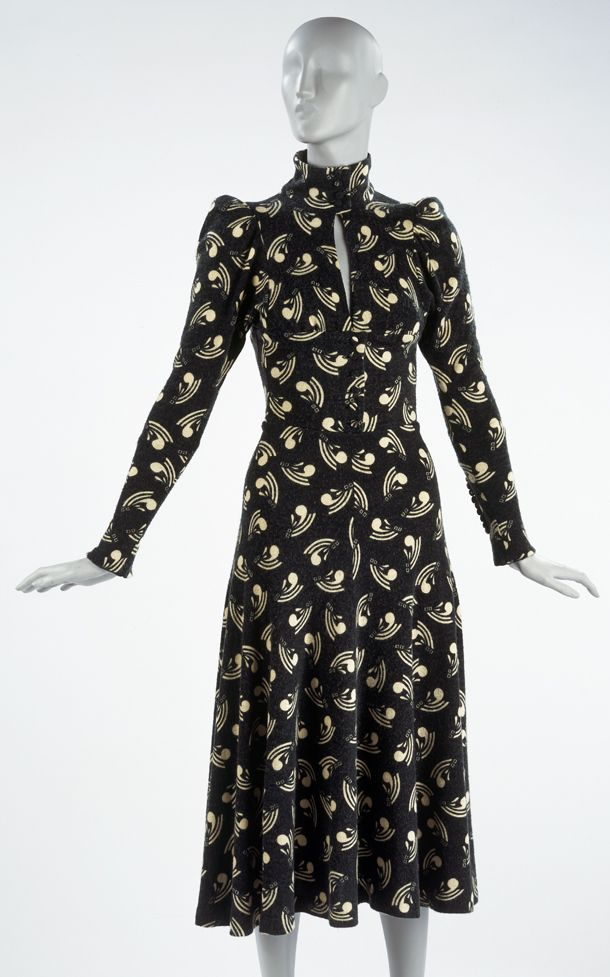 Dress Barbara Hulanicki (Biba) (1936-) About 1969 iconic 60s 70s dress  retro reproduction style vintage 40s influences novelty print high collar  long ...