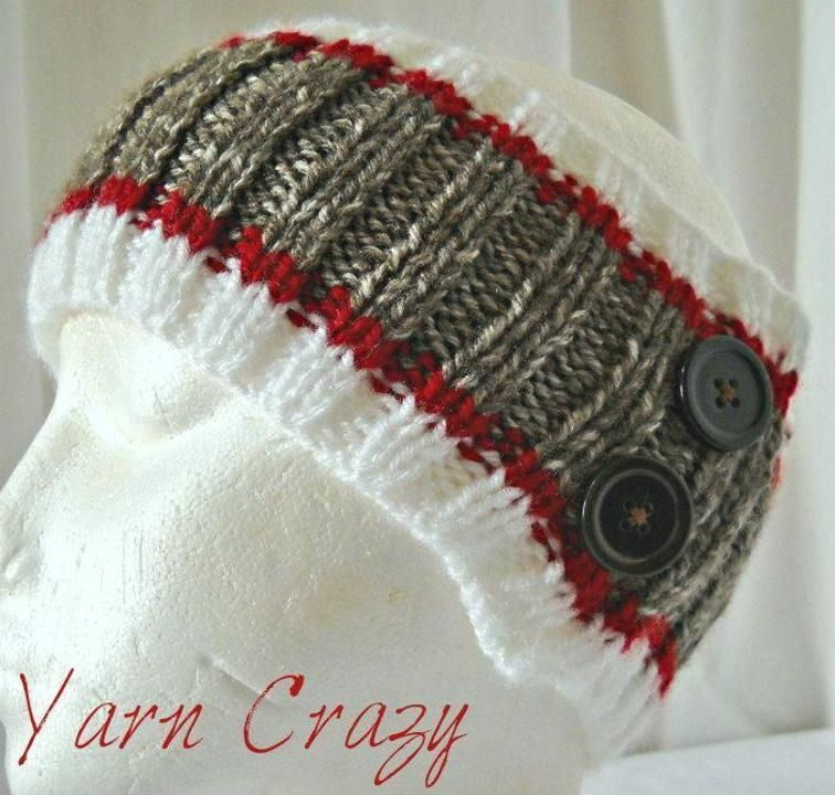 Sock Monkey Ribbed Knitted Ear Warmer #sockmoneky