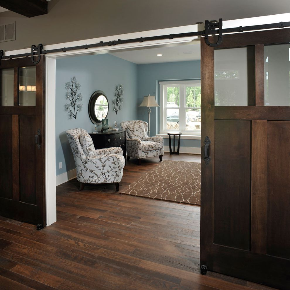 Blue Barn Sf Rustic Home Office Also Area Rug Barn Doors Baseboards Blue And Brown Blue Walls Dark Floo Rustic Home Offices Barn Door Decor Interior Barn Doors
