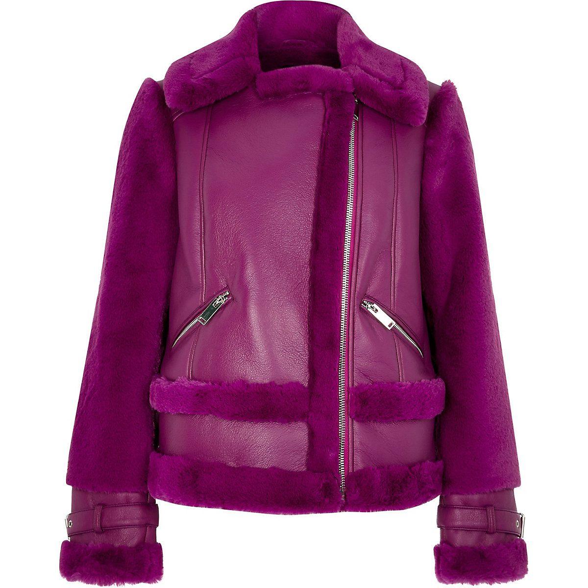 Purple faux fur aviator jacket Jackets, Aviator jackets