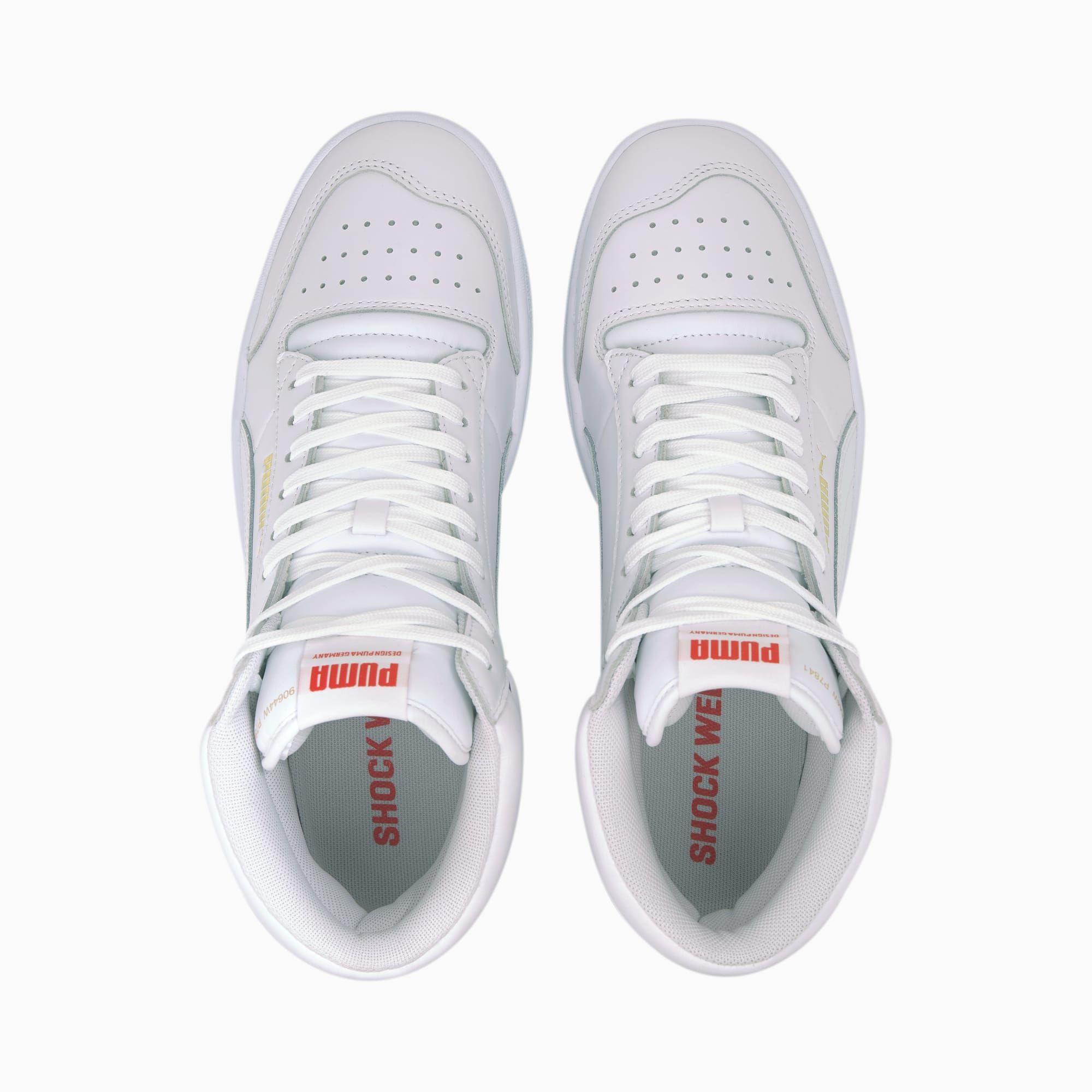 Men's PUMA Ralph Sampson Mid Trainers, White/Hirisrd/Purplcoralites, size 10.5, Shoes