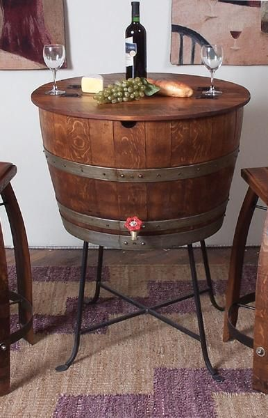 whiskey barrel bistro table ~would be cool for outside and put Ice and pop, wine, beer ect...