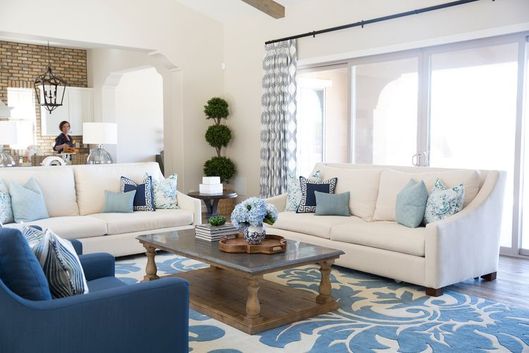 Blue And Neutral Family Room Designed By Sarah Elizabeth Interior Design Phoenix Az Based Boutique Firm Navy Chairs Sofa