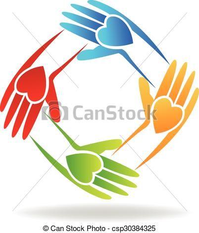 vector teamwork hands logo stock illustration royalty free rh pinterest co uk
