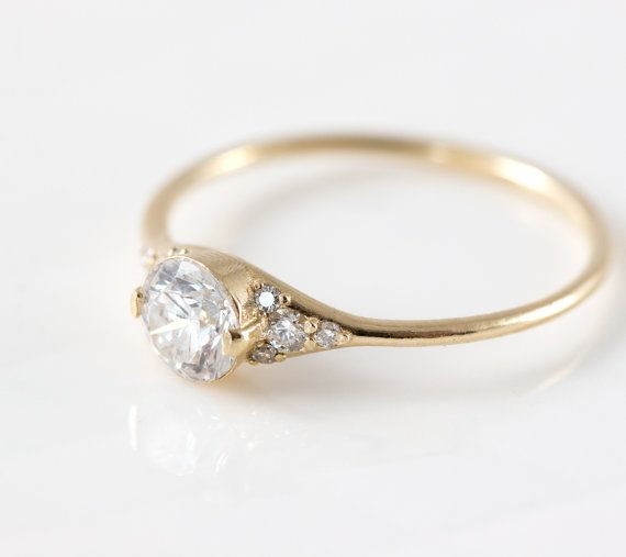 Lady S Slipper Diamond Engagement Ring Delicate With Side Diamonds Yellow Gold Half Carat