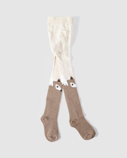 53f20be7c Leotardos de bebé niña Cotton Juice con zorrito camel y marrón. | My ...