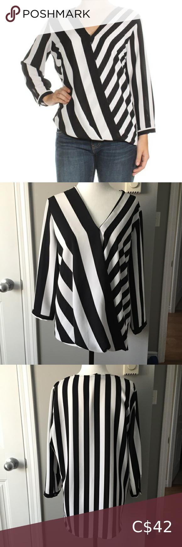 Alfani Striped Mid Sleeve Blouse