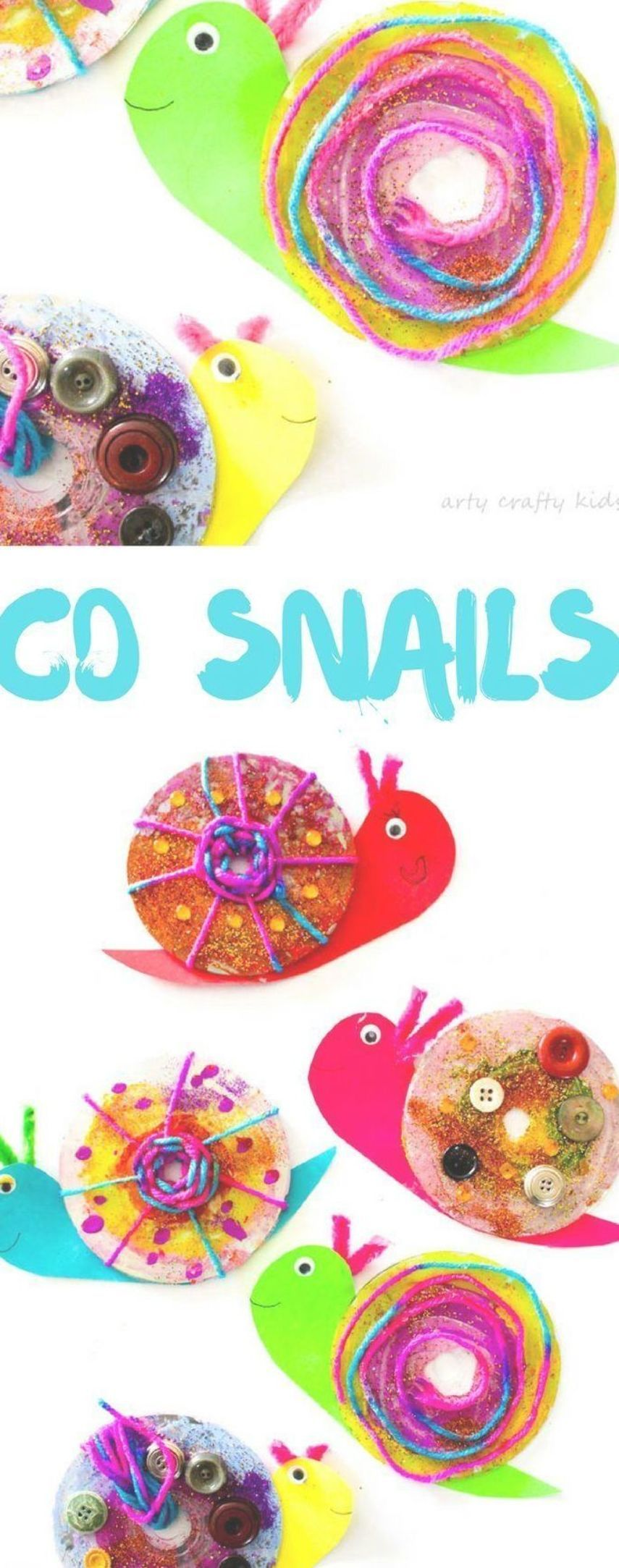 Recycled CD Snail craft for Kids. Super easy, super cute and perfect for preschoolers! #minibeasts #easycraftsforkids #kidscrafts #craftsideasforkids #craftykids #artycraftykids #recycledcd