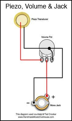 Piezo Diagram With Volume Pot And Jack Cigar Box Guitar Plans Cigar Box Guitar Box Guitar