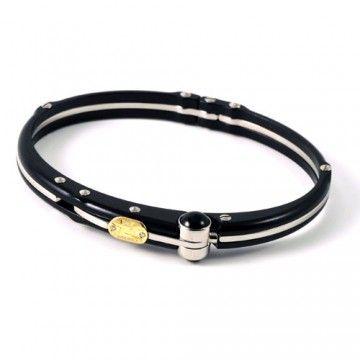 Sauro black bracelet steel, gold and diamonds
