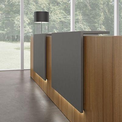Down Lights Black Grey And Light Timber Office Furniture Modern Modern Office Design Modern Reception Desk