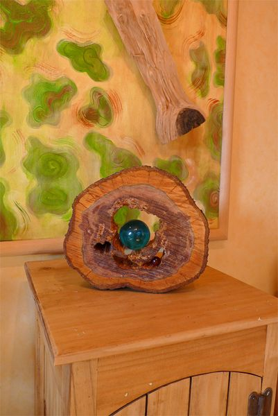Baumscheibe Mit Glaskugel Pflaume Holzdeko Basteln